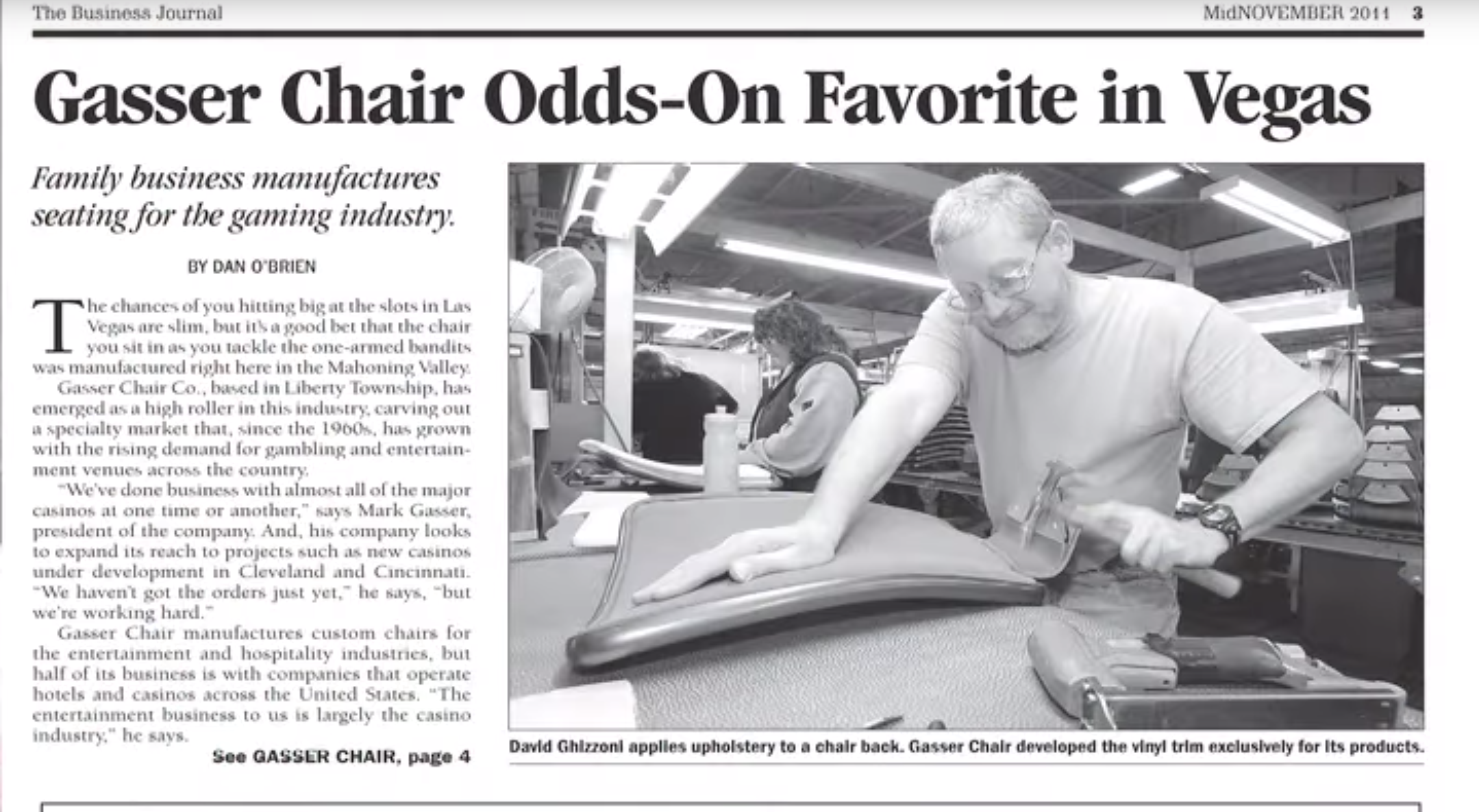 Business Journal's Daily Buzz Features Gasser Chair Company